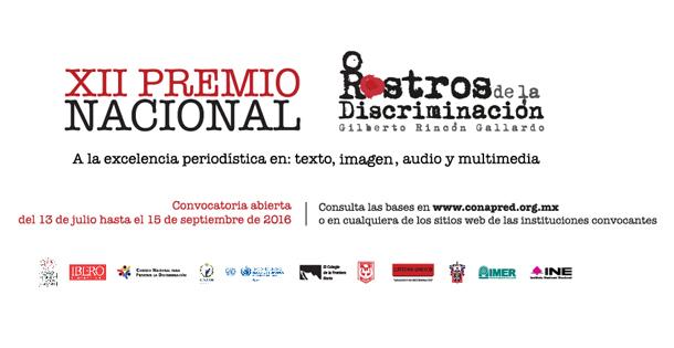 """XII PREMIO NACIONAL ROSTROS DE LA DISCRIMINACIÓN """"GILBERTO RINCÓN GALLARDO"""""""