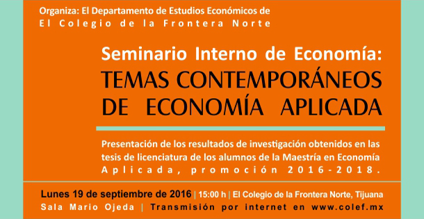 Seminario interno de economía: Temas contemporáneos de economía aplicada