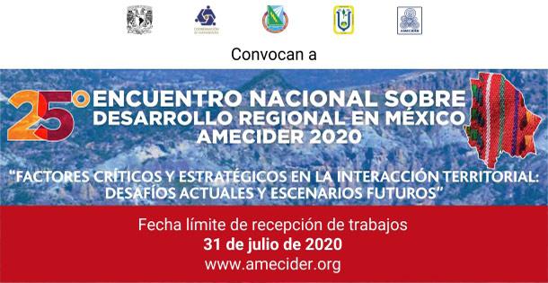 Banner 25° Encuentro Nacional sobre Desarrollo Regional en México AMECIDER 2020